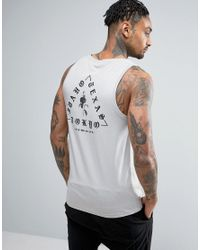ASOS | Gray Muscle Vest With Triangle Chest And Back Print for Men | Lyst