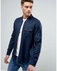 Another Influence Blue Zip Through Bomber Shirt Jacket for men