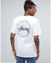 Stussy White T-shirt With Vintage Dot Back Print for men