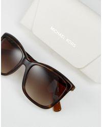 Michael Kors Brown Cat Eye Sunglasses In Tortoise