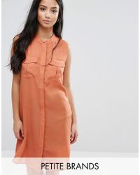 Vero Moda | Brown Shirt Dress With Utility Pockets | Lyst