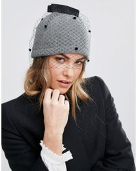 Helene Berman   Gray Veil Beanie Hat   Lyst