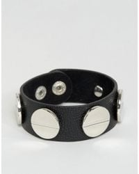 ASOS - Black Faux Leather Screw Stud Bracelet - Lyst