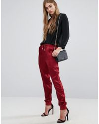 Missguided | Red Pocket Detail Satin Jogger | Lyst