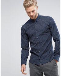 HUGO | Blue By Boss Ero 3 Shirt Grid Print Slim Fit In Navy for Men | Lyst