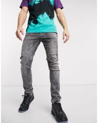 Religion – Vicious – Enge Jeans im Used-Look in Gray für Herren