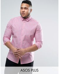 ASOS Plus Slim Stretch Gingham Check Shirt In Pink for men