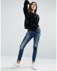 G-Star RAW Blue Midge Cody Paintsplash Skinny Jeans With Zip Back Pockets