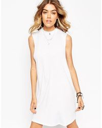 ASOS - White T-shirt Dress With Drop Arm Hole - Lyst