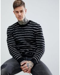 ASOS - Black Asos Mohair Wool Blend Jumper With Contrast Stripes In Monochrome for Men - Lyst