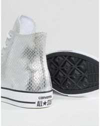 Converse - Chuck Taylor Metallic Hi Tops In Snake Leather - Lyst