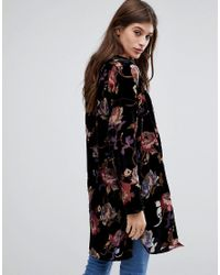 Vero Moda - Black Bold Floral Duster Coat - Lyst
