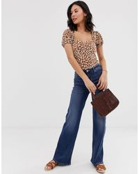 Top de manga abombada con estampado de leopardo No Type de Free People de color Brown