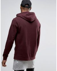 ASOS - Red Hoodie In Burgundy for Men - Lyst