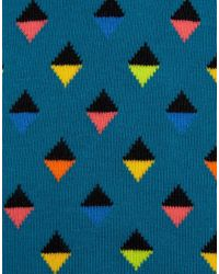 Happy Socks   Blue Abstract Triangle Crew Socks for Men   Lyst