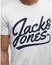 Jack & Jones - White Originals T-shirt With Embroidered Graphic for Men - Lyst