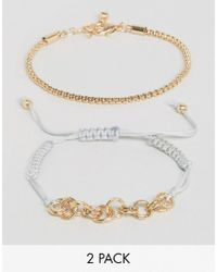 ASOS | Metallic Pack Of 2 Mesh Chain And Cord Bracelet | Lyst