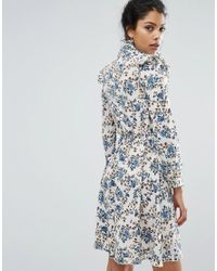 Boohoo Blue High Neck Printed Ruffle Dress