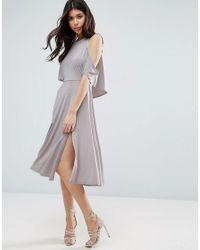 ASOS | Gray Slinky Cold Shoulder Skater Midi Dress With Splits | Lyst