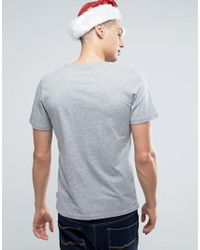 Jack & Jones Gray Originals T-shirt With Christmas Pocket for men