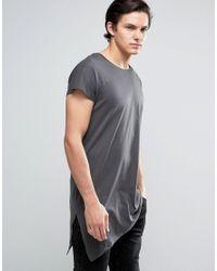 Jack & Jones Gray Core Longline T-shirt With Asymmetric Hem for men