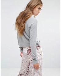 Pull&Bear Gray Unicorn Detail Lightweight Knitted Jumper