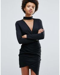 Daisy Street | Black High Neck Bodycon Dress With Crossover Front | Lyst