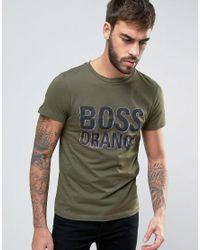 BOSS Orange | By Hugo Boss Logo T-shirt Slim Fit In Green for Men | Lyst