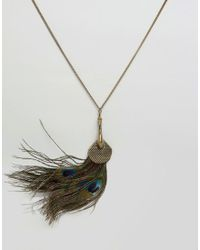 Ruby Rocks | Metallic Faux Peacock Feather Necklace | Lyst