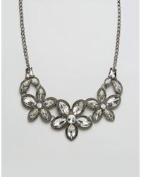 Ruby Rocks | Metallic Floral Jewelled Necklace - Silver/clear | Lyst
