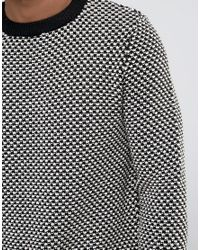New Look Textured Sweater With Crew Neck In Black And White for men