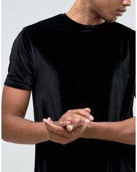 ASOS | Tall Longline Velvet T-shirt In Black for Men | Lyst