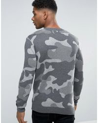 New Look Camo Sweater In Gray for men