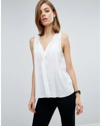 ASOS | White Sleeveless Blouse With V Front | Lyst