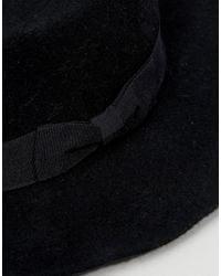 Vero Moda - Black Wool Fedora Hat - Lyst