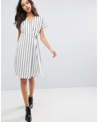 Vero Moda Multicolor Striped Wrap Tea Dress