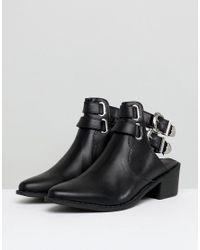 Truffle Collection - Black Western Buckle Cutout Boot - Lyst