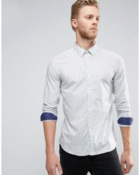 PS by Paul Smith | Cactus Print Shirt Slim Fit In Sky Blue for Men | Lyst