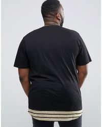ASOS - Black Plus Super Longline T-shirt With Scoop Neck And Stripe Hem Extender for Men - Lyst