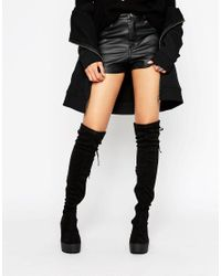 Truffle Collection Black Chunky Over Knee Boot