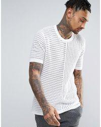 ASOS - Knitted Mesh T-shirt In White for Men - Lyst