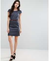 Vero Moda Blue Belted Dress With Capped Sleeves
