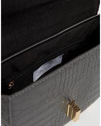 Liquorish - Gray Cross Body Saddle Bag - Lyst