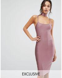 Naanaa Multicolor Metallic Bodycon Midi Dress With Choker