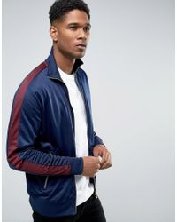 New Look Blue Track Jacket In Navy With Burgundy Stripe for men