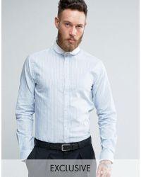 Heart & Dagger Blue Skinny Stripe Shirt With Contrast Collar for men