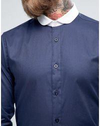 Heart & Dagger Blue Skinny Shirt With Contrast Collar for men