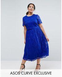 ASOS   Blue Lace Crop Top Midi Skater Dress   Lyst
