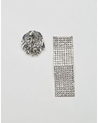 ASOS - Metallic Statement Mismatch Petal And Wave Earrings - Lyst