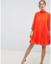 ASOS Orange Pleated Trapeze Mini Dress
